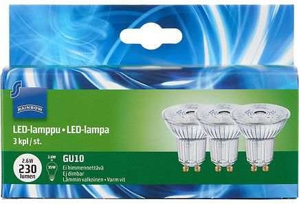 Image for Rainbow Led kohde 2,6W GU10 3-PACK 250LM 2700, 3 kpl from Kodin Terra
